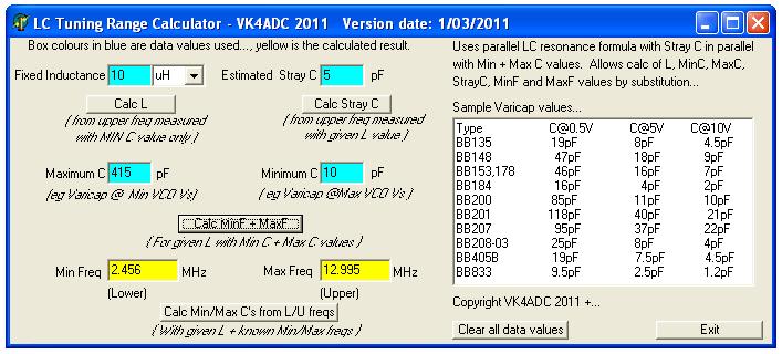 VK4ADC LC Calculator