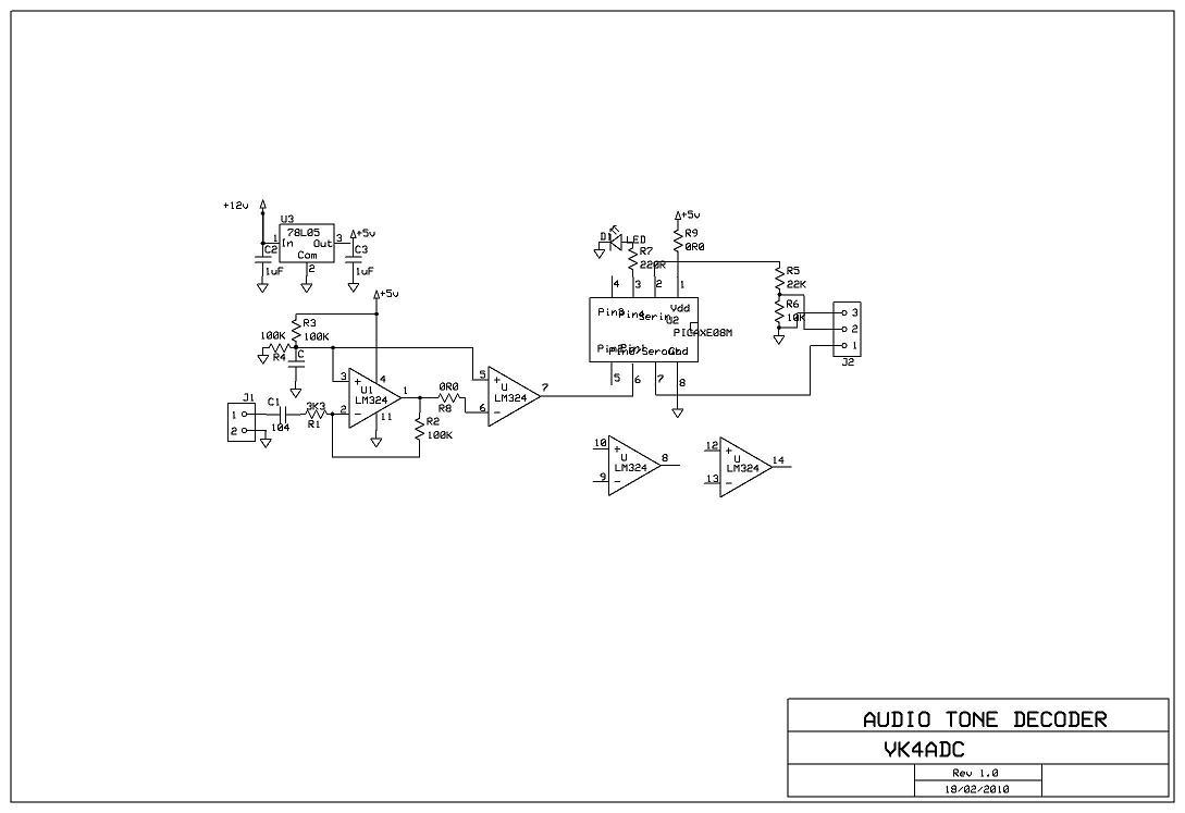 A Picaxe Based Audio Frequency Decoder Sound Detector Using Lm324 The Schematic Of Tone Interface Is Really Very Simple And Uses Only Few Smd Style Parts